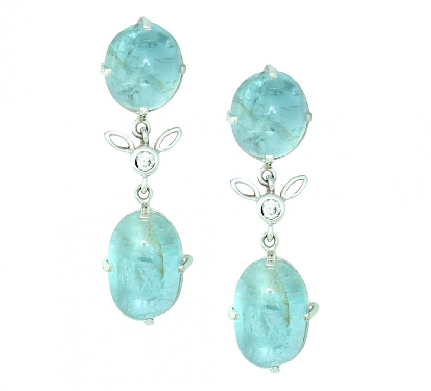 Aquamarine Cabochon Earrings