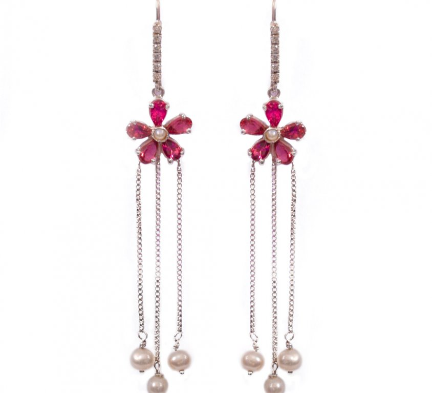 Flower Drop Earrings with Pearl