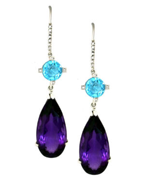 Amethyst and Blue Topaz Earrings