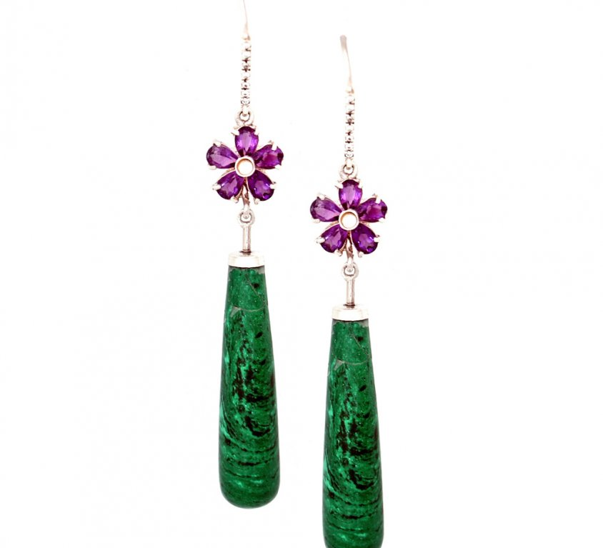 Flower Amethyst and Green Agate