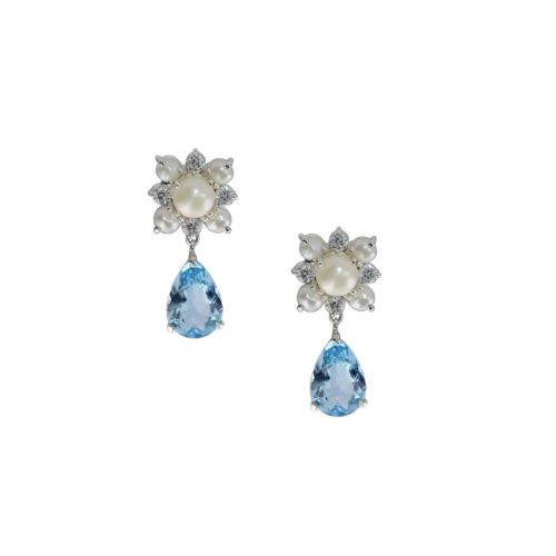 Glam Blue Topaz and Pearl Earrings