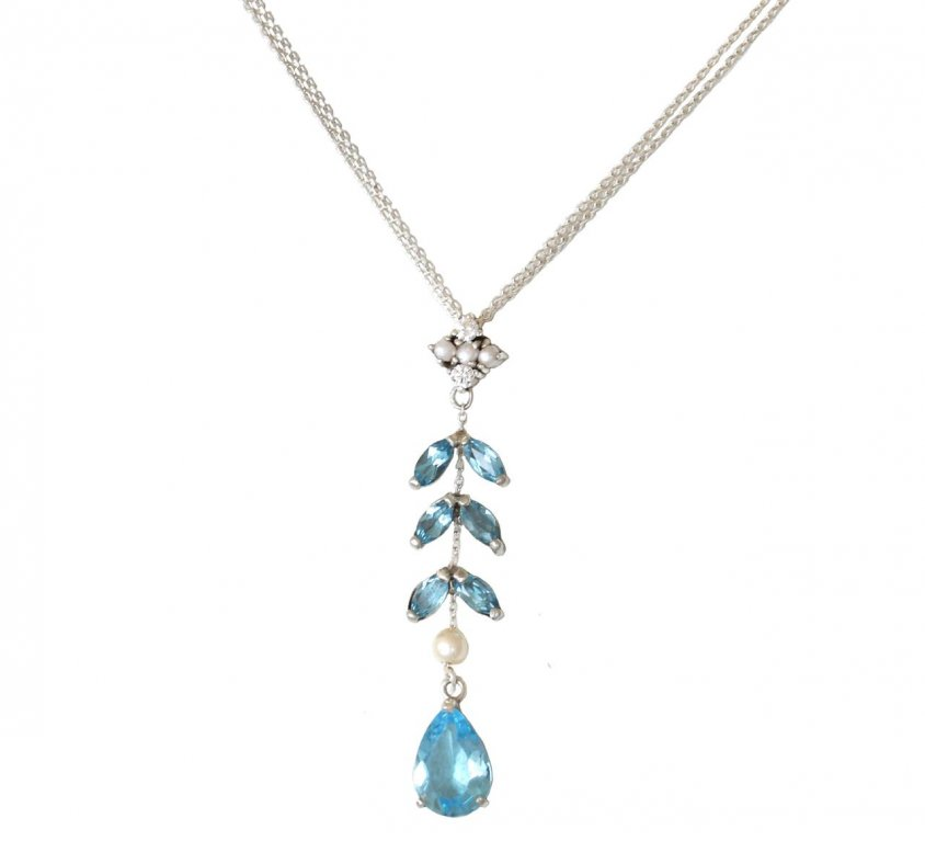 Glam Blue Topaz and Pearl Pendant