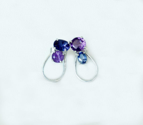 Amethyst and Sapphire Earrings