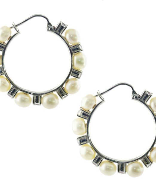 Dazzling pearl and ws hoop