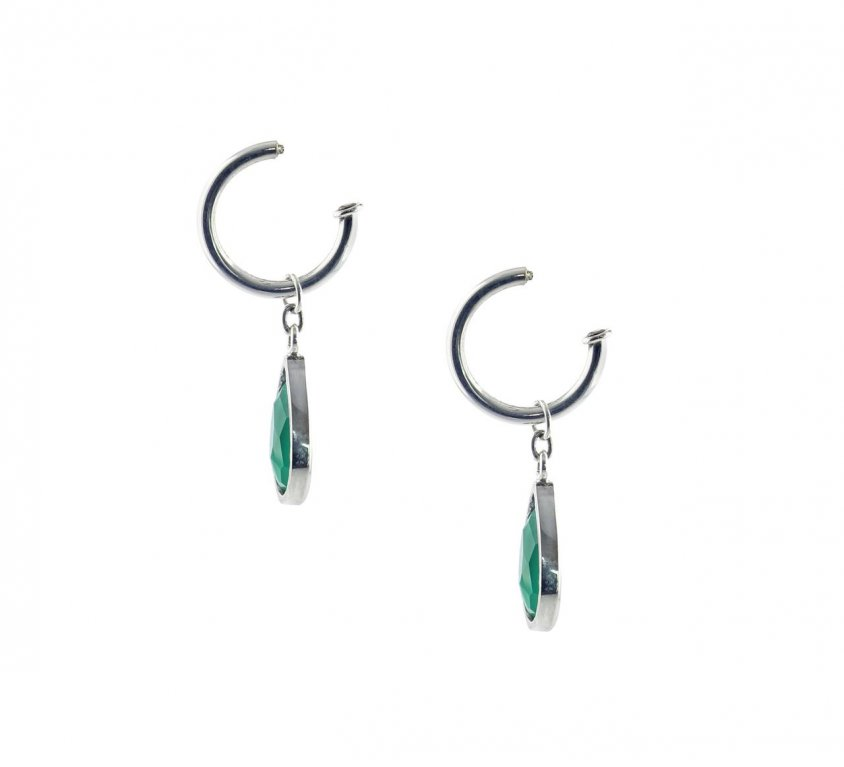Green Agate Drop – Interchangeable Hoop