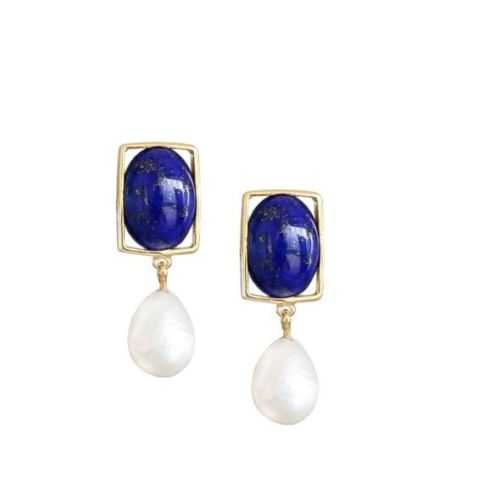 Lapis and Baroque Pearl Drop