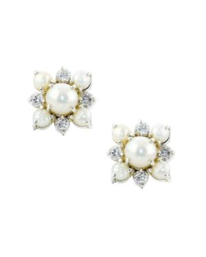 Pearl and White Topaz Stud