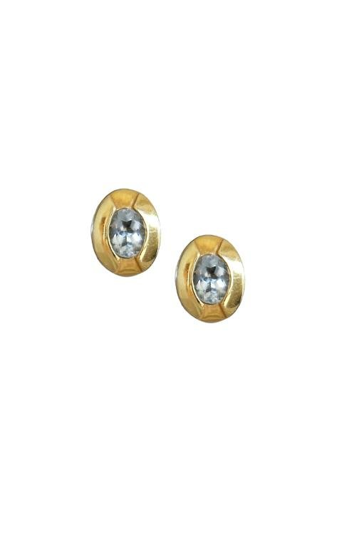 Aquamarine Stud Earrings Gold Plated