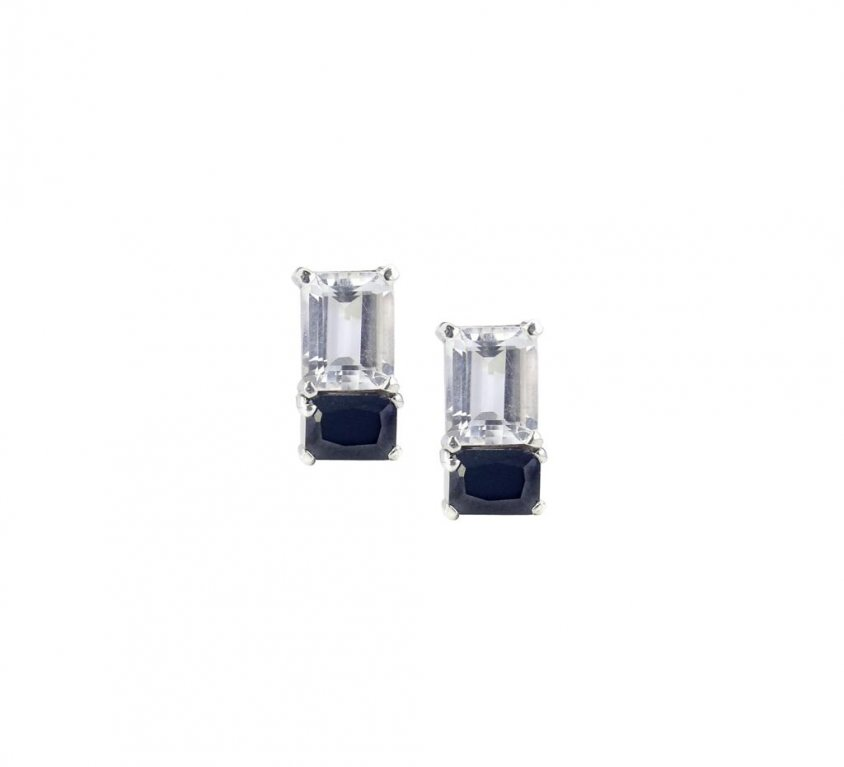 White and Black Onyx Stud Earrings