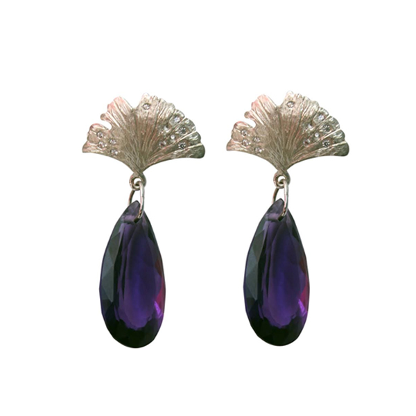 Amethyst Leaf Drop Earring