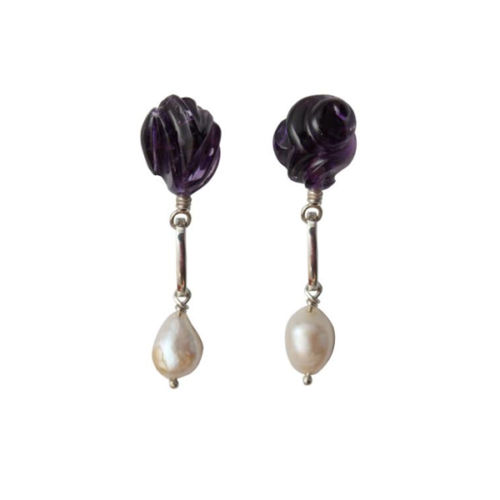 Amethyst Rose and Baroque Pearl Drop