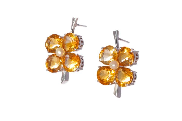 Citrine and Pearl Drop