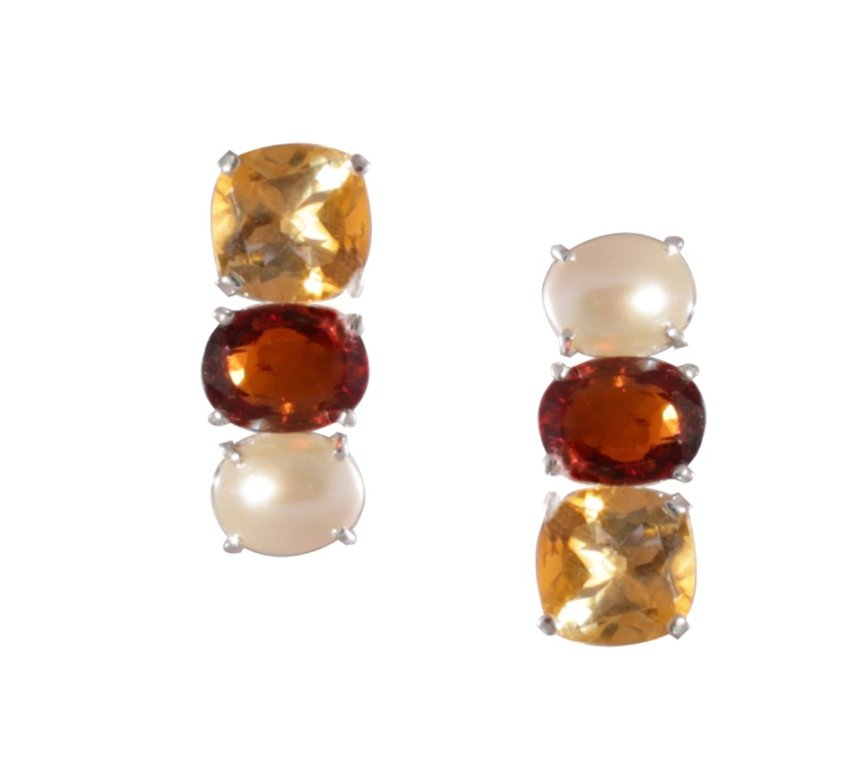 Citrine Garnet and Pearl Earring