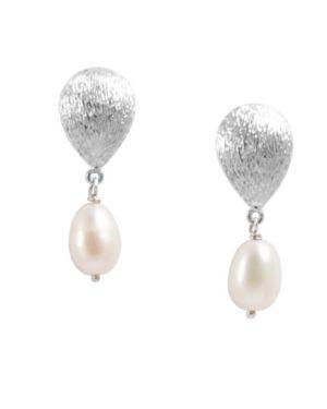 Rustic Sterling Silver Pearl Drop Earring