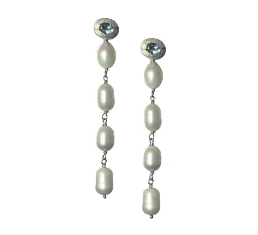 Aquamarine and Pearl Dangler