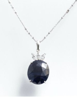 Rough Cut Blue Sapphire Pendant with Chain