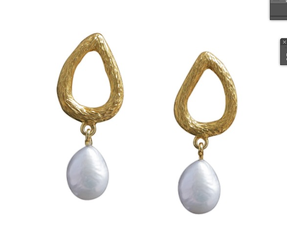 Rustic Silver Baroque Pearl Gold Plated