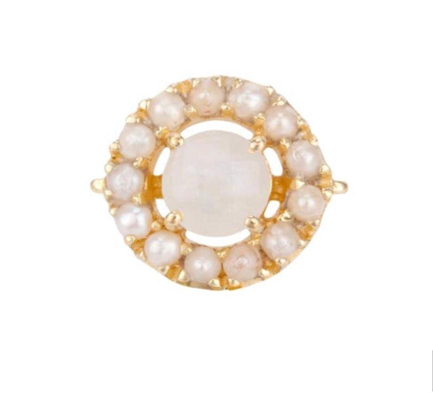 Moonstone Pearl Earring