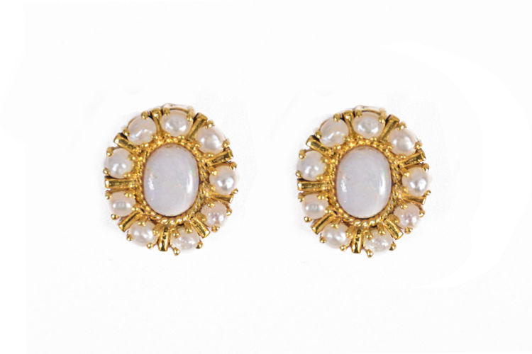 White Opal and Pearl Silver – Gold plated