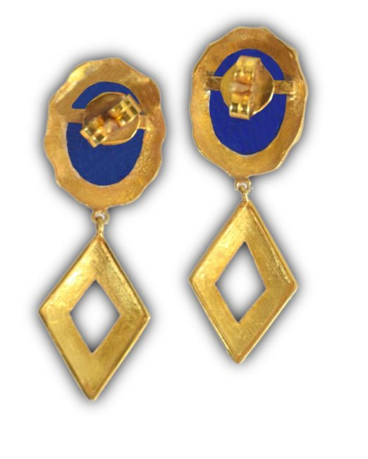 Lapis Drop - Gold Tone