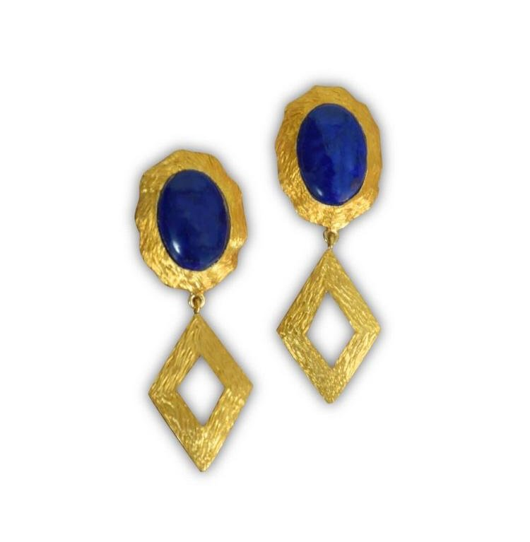 Lapis Drop – Gold Tone