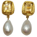Glam Citrine Baroque Pearl Drop -Gold Plated