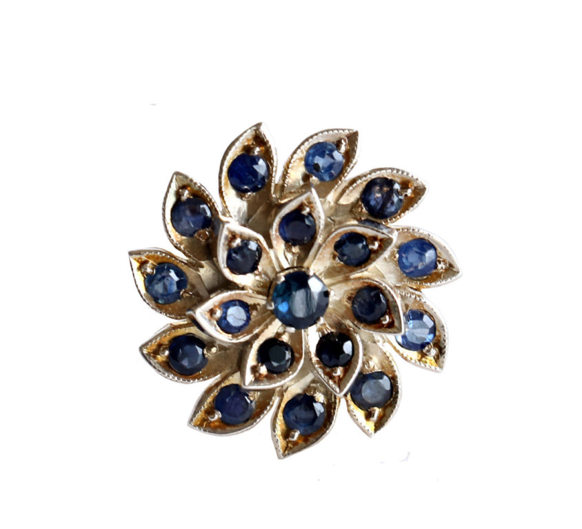 Antique Style Blue Sapphire Flower Ring