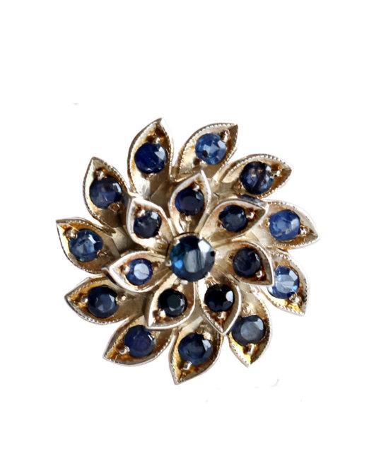 vintage- blue sapphire flower ring (1)