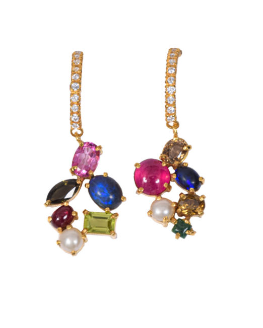 Coloured Stone and Pearl Drop - Gold Plated