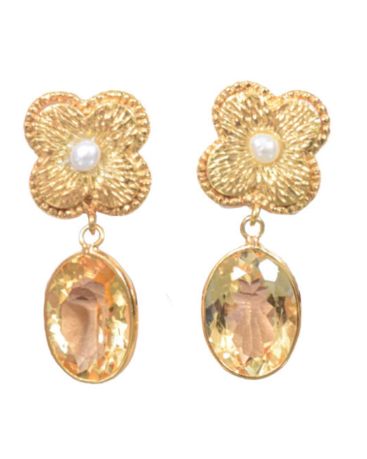 Rustic Silver Flower Drop Citrine Earring - Gold Plated