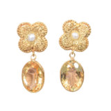 Rustic Silver Flower Drop Citrine Earring – Gold Plated