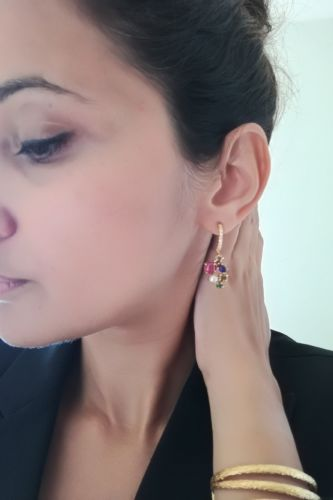 Coloured Stone and Pearl Drop – Gold Plated